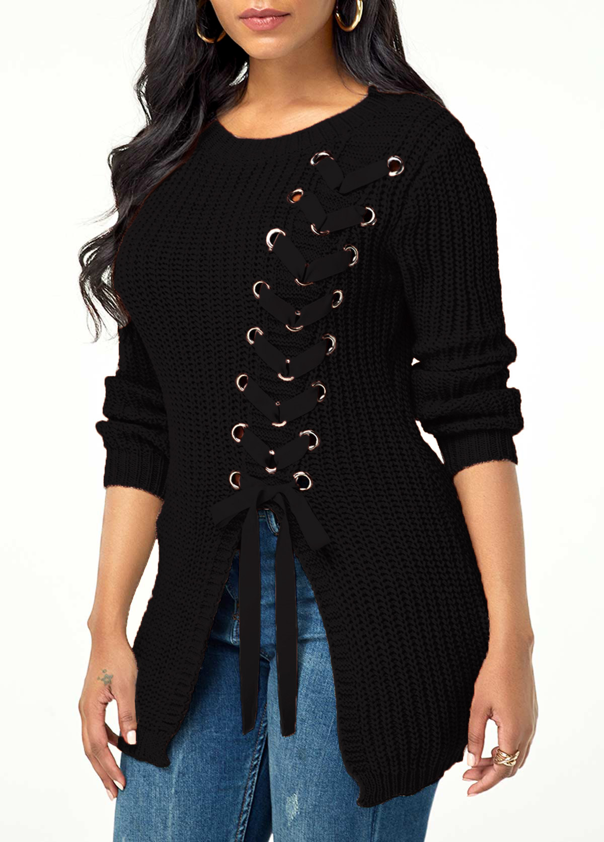Rib Knit Lace Up Asymmetric Hem Sweater