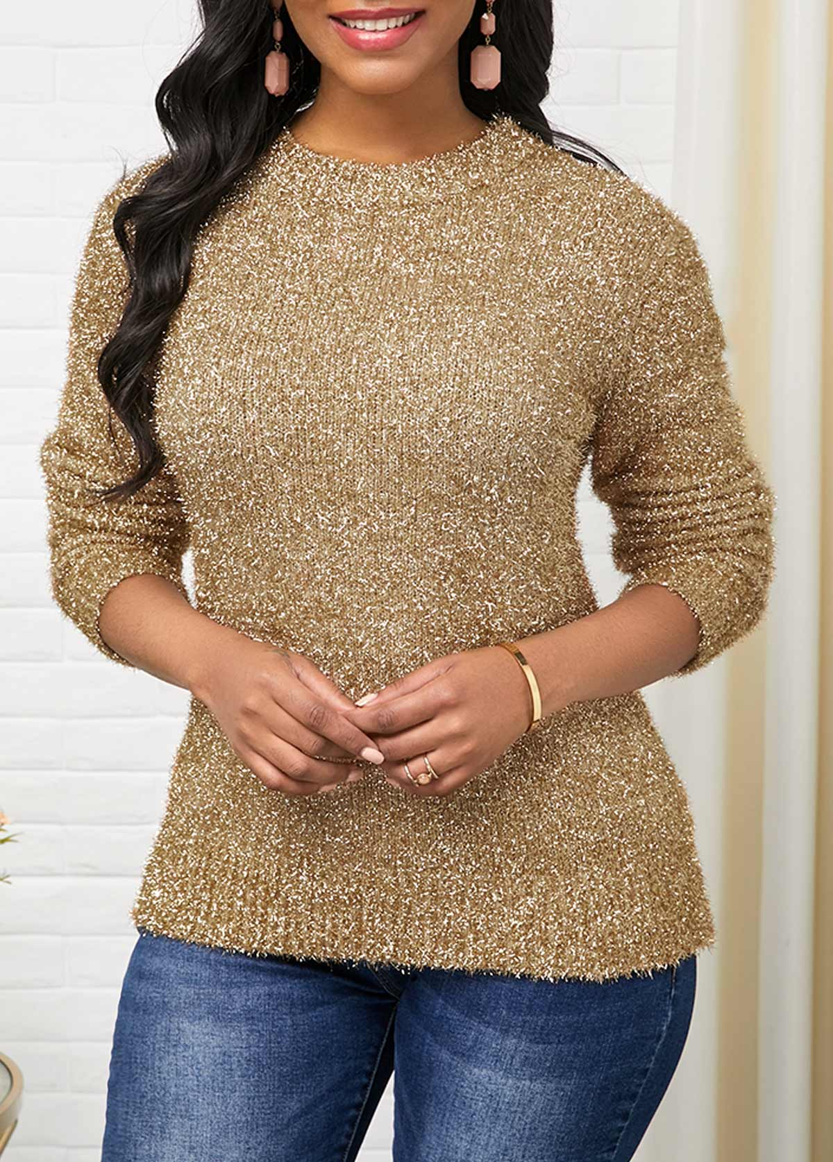 Round Neck Gold Long Sleeve Sweater