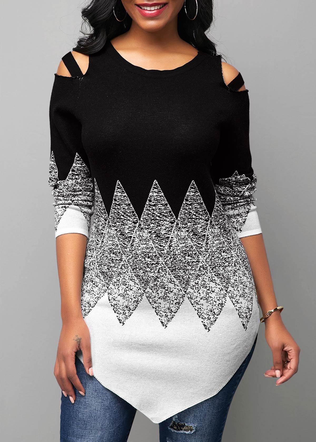 Round Neck Cold Shoulder Color Block Sweater