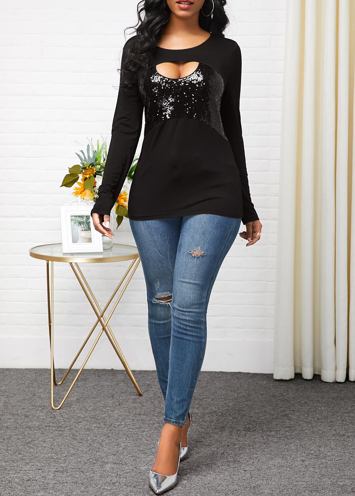 Long Sleeve Black Sequin Panel T Shirt
