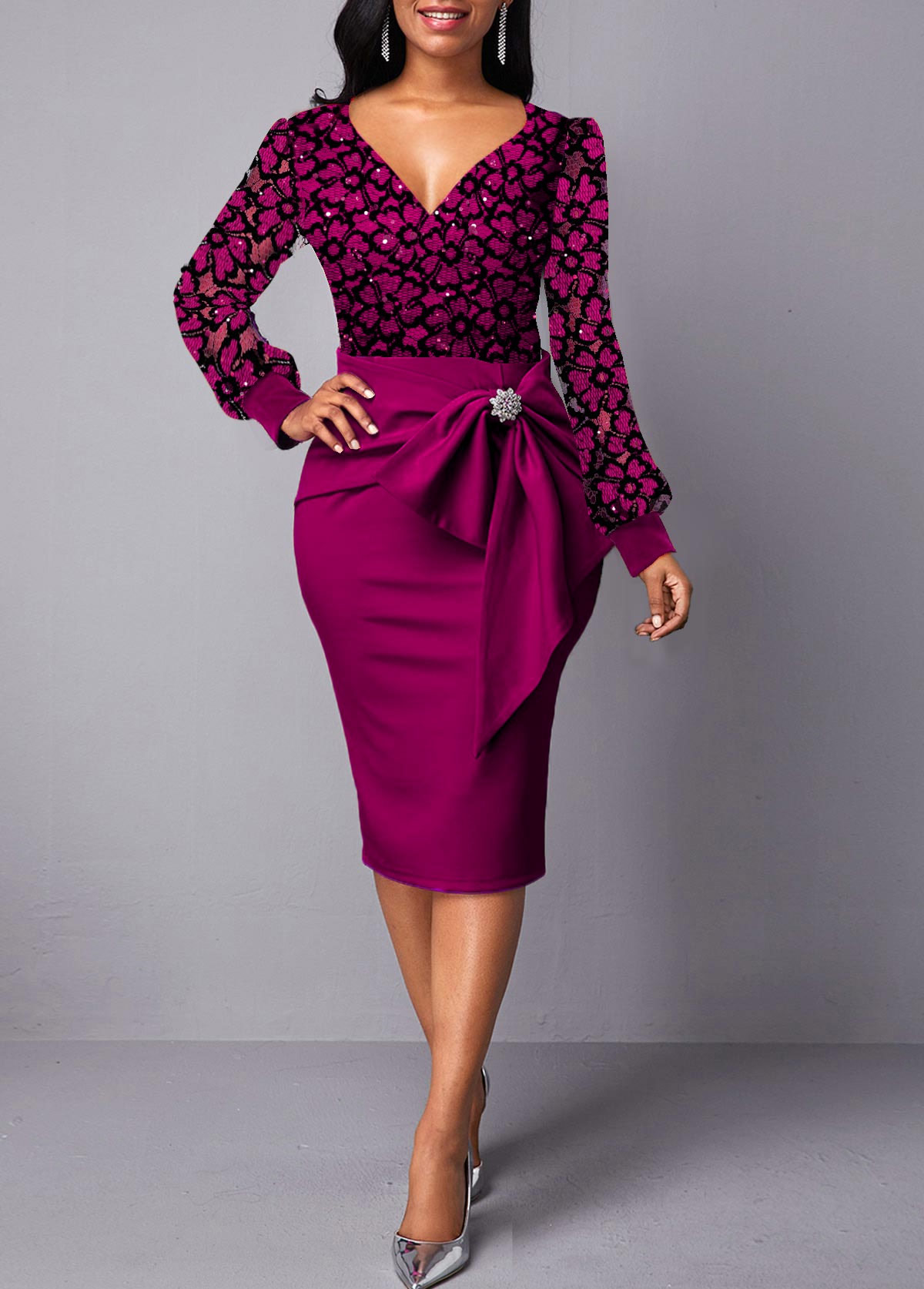 Bowknot Detail Lace Panel Back Slit Dress