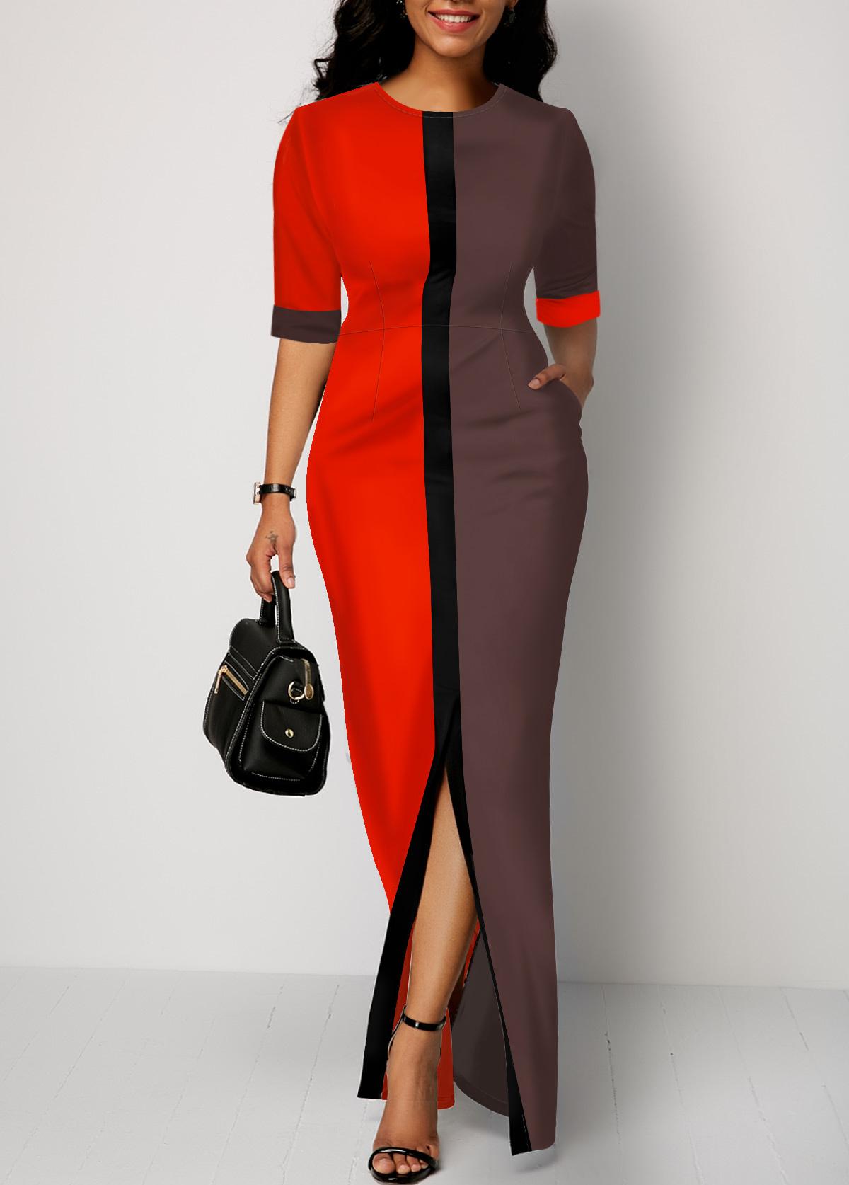 Slit Front Half Sleeve Color Block Dress