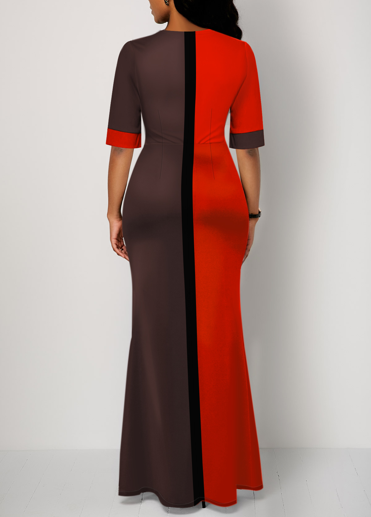 Slit Front Half Sleeve Color Block Dress