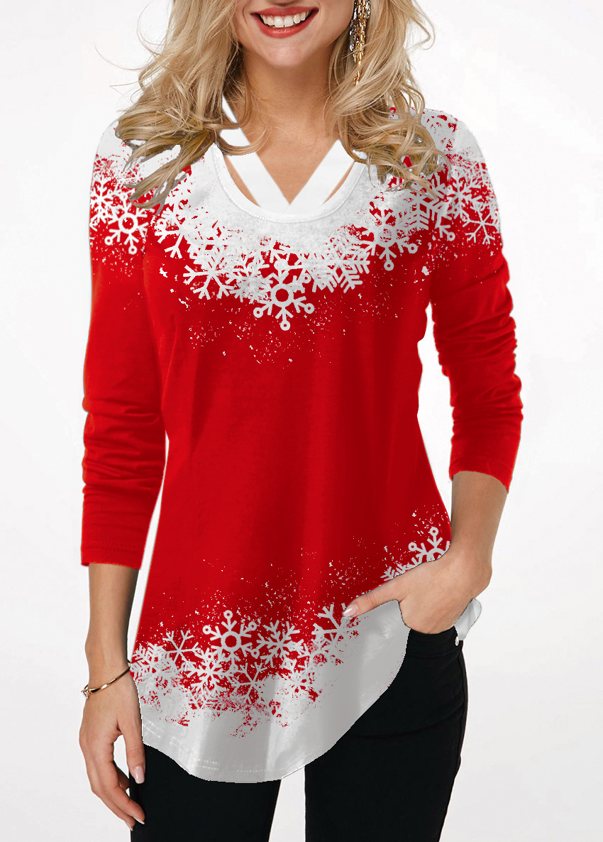 Red Long Sleeve Printed T Shirt