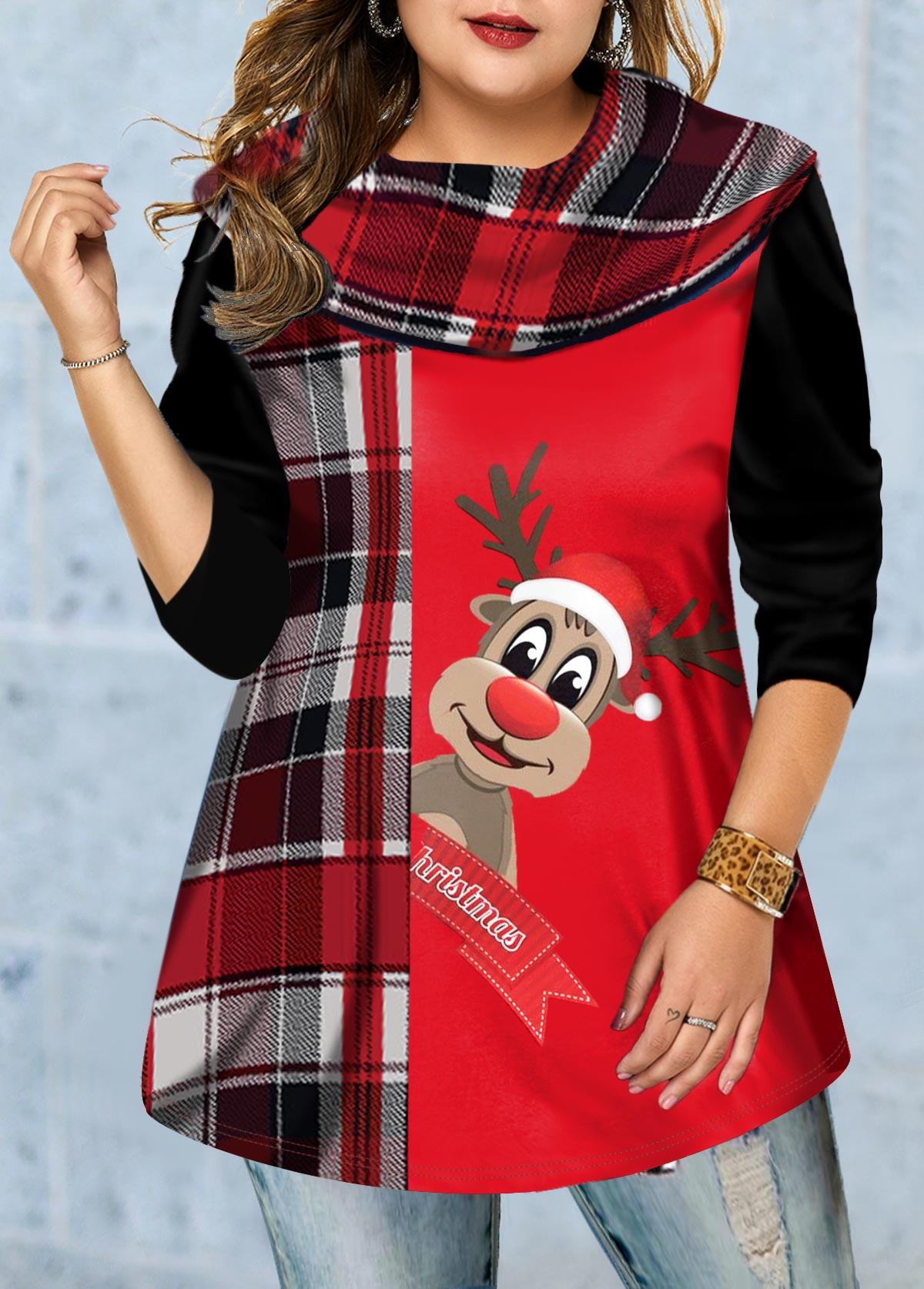 Christmas Elk Print Plus Size Long Sleeve T Shirt