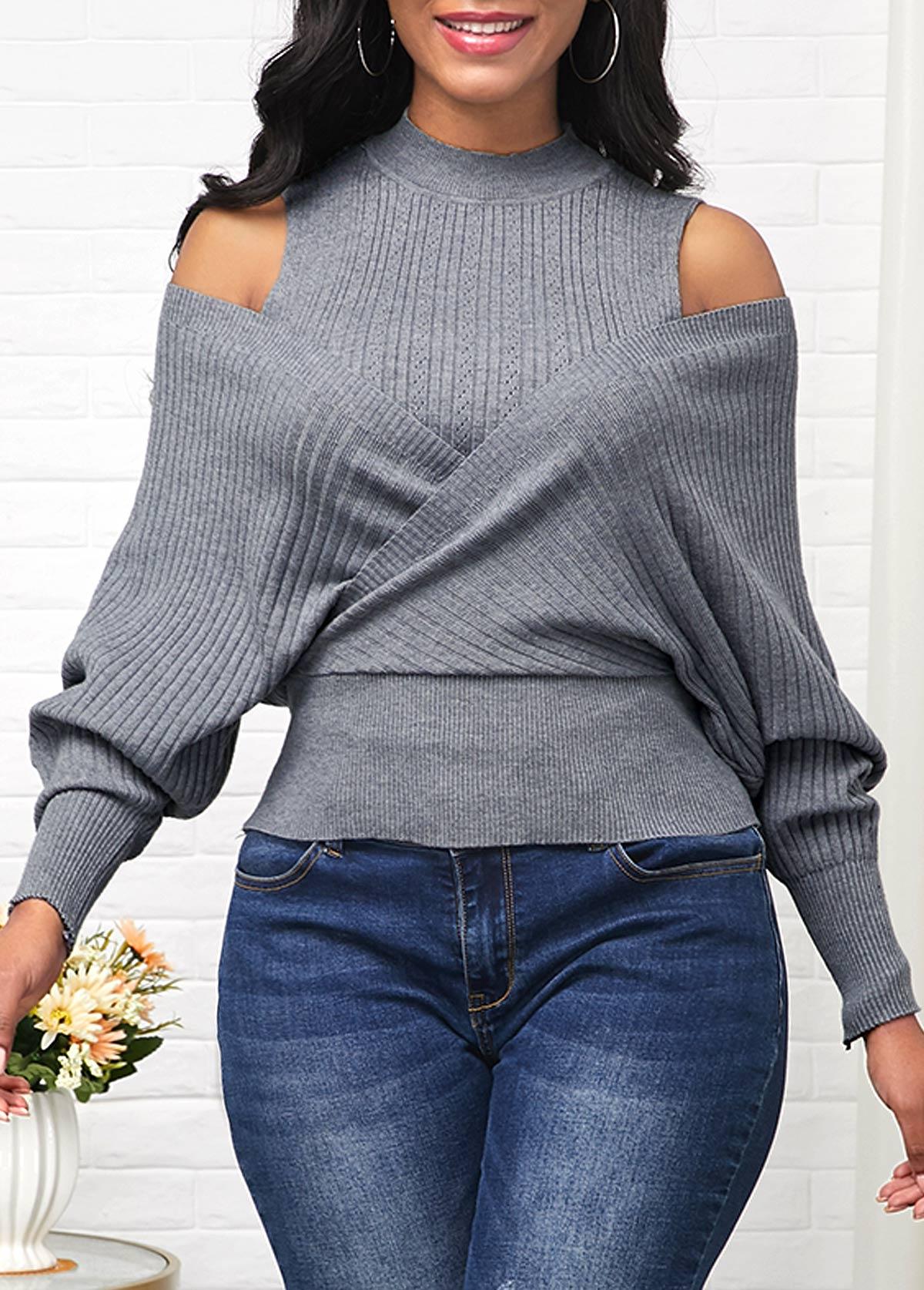 Long Sleeve Cold Shoulder Mock Neck Sweater