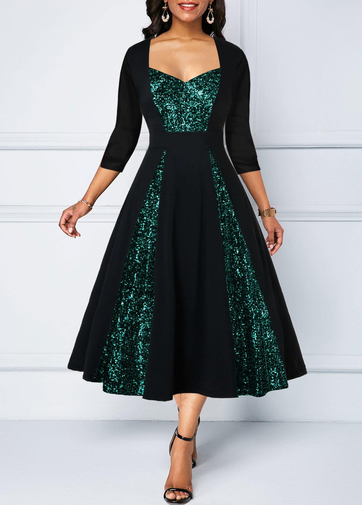 Three Quarter Sleeve Sequin Panel A Line Dress