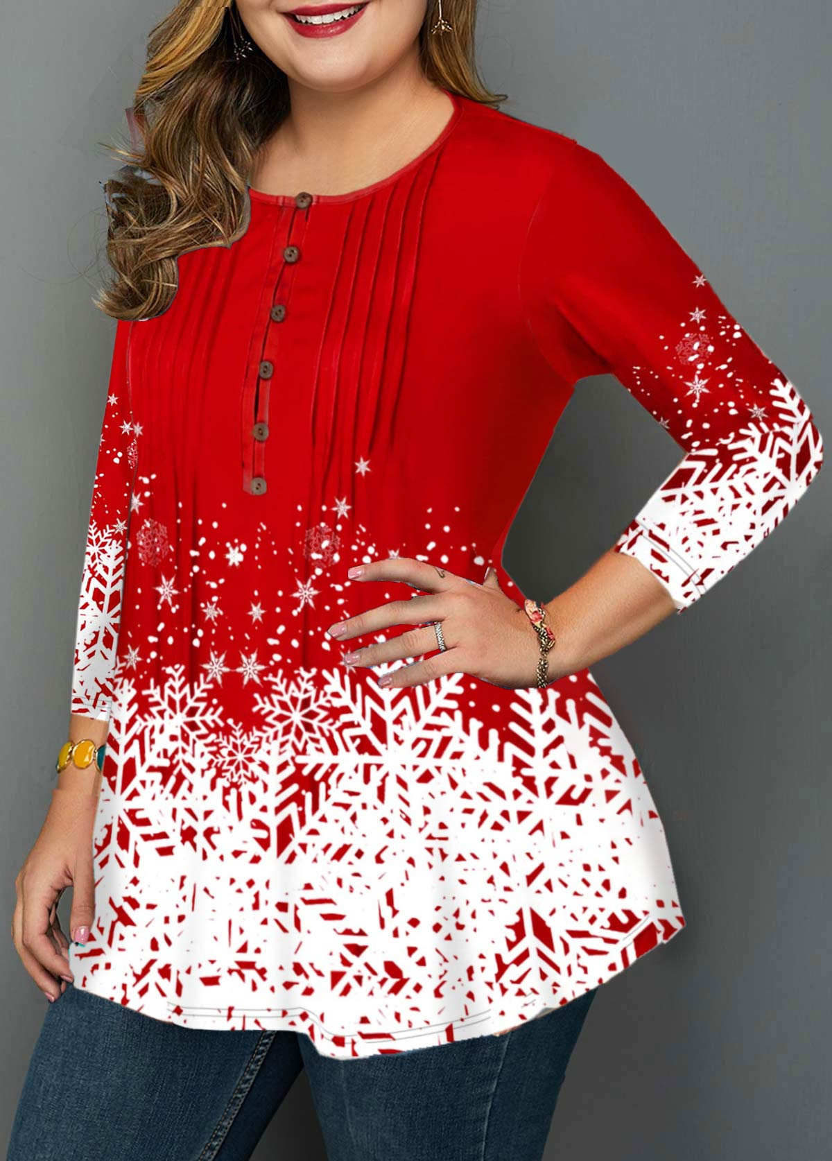 Plus Size Snowflake Print Button Blouse