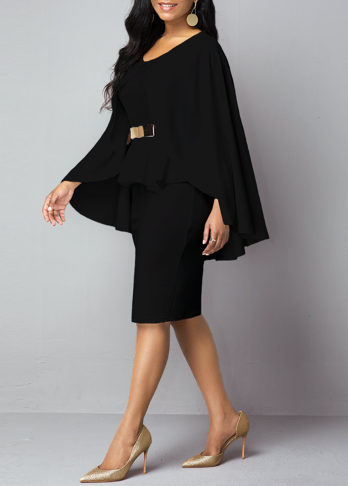 Black Faux Two Piece Overlay BodyconDress