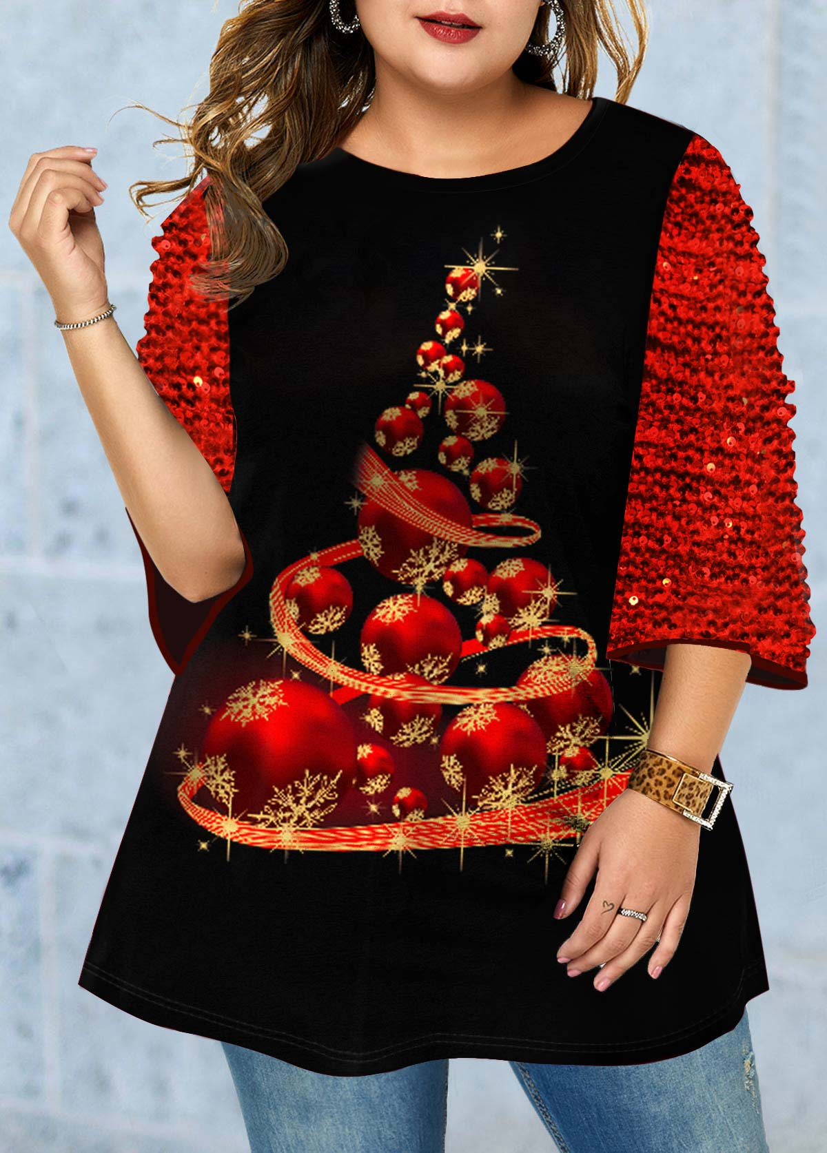 Sequin Panel Plus Size Christmas Print T Shirt