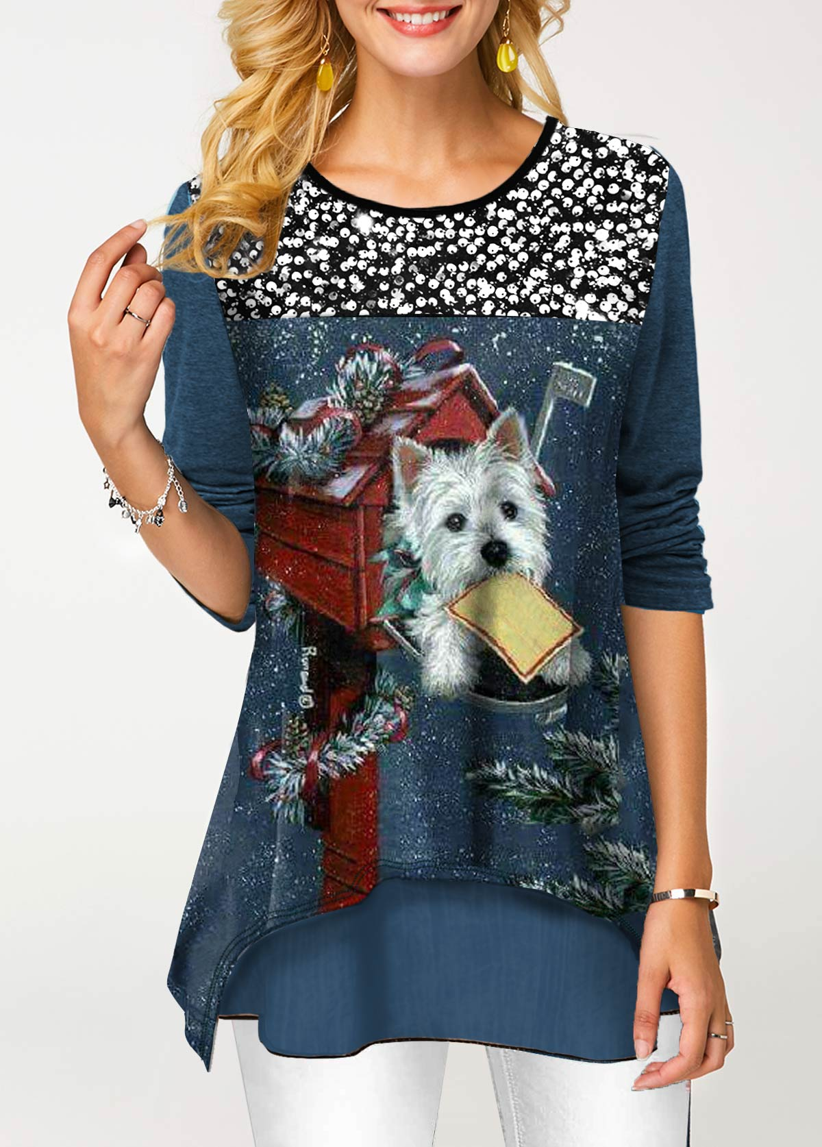 Sequin Panel Faux Two Piece Dog Print T Shirt