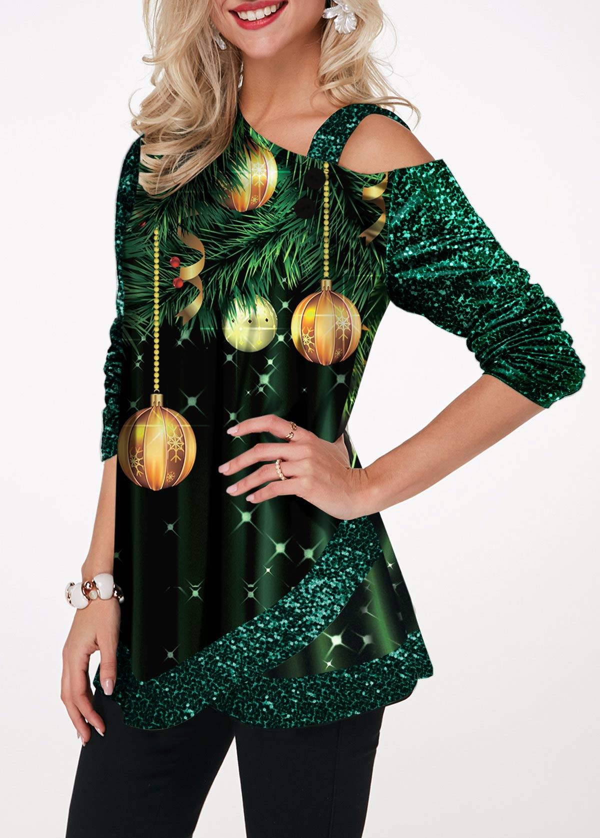 Sequin Panel Print Tulip Hem T Shirt