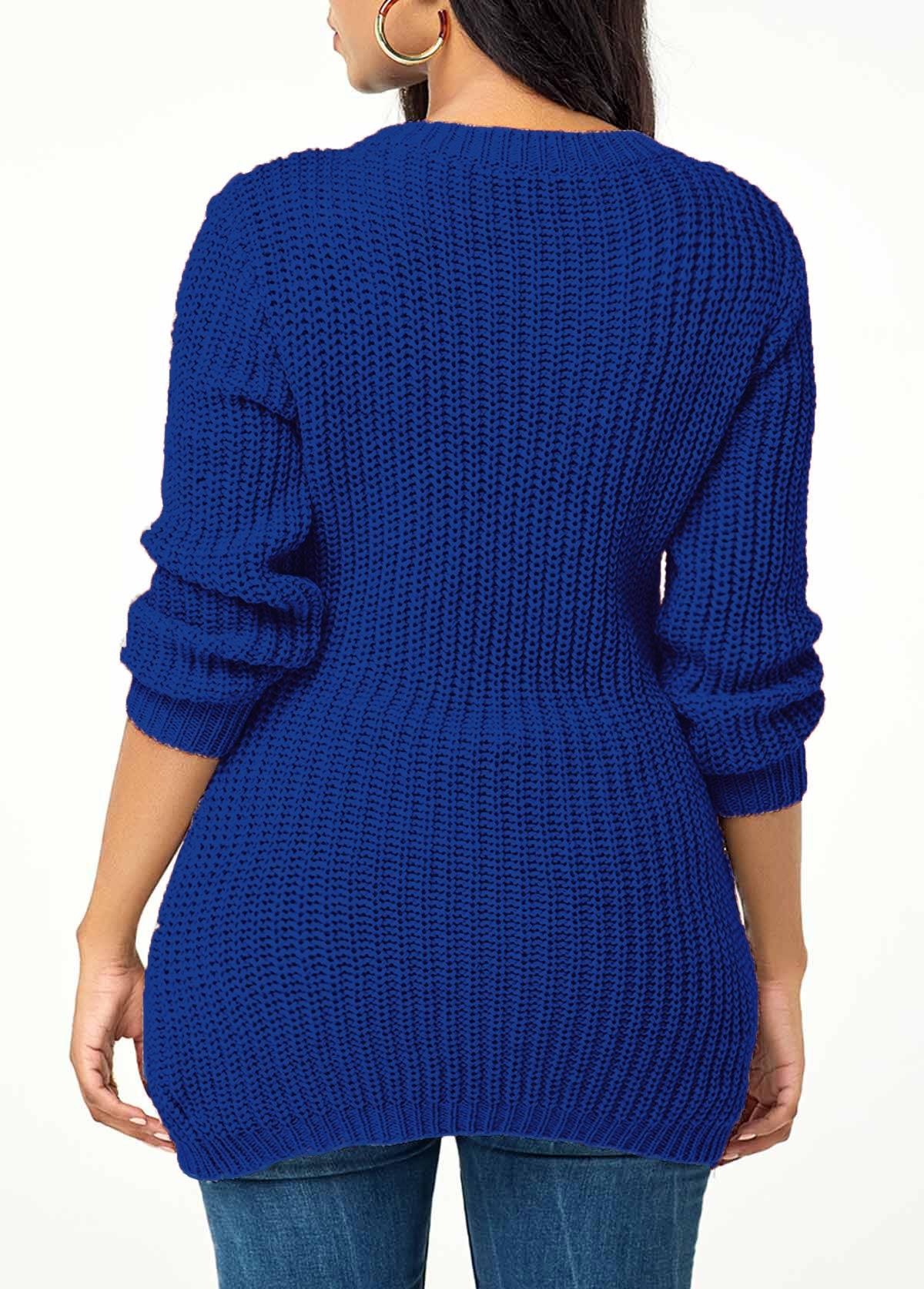 Rib Knit Lace Up Asymmetric Hem Sweater