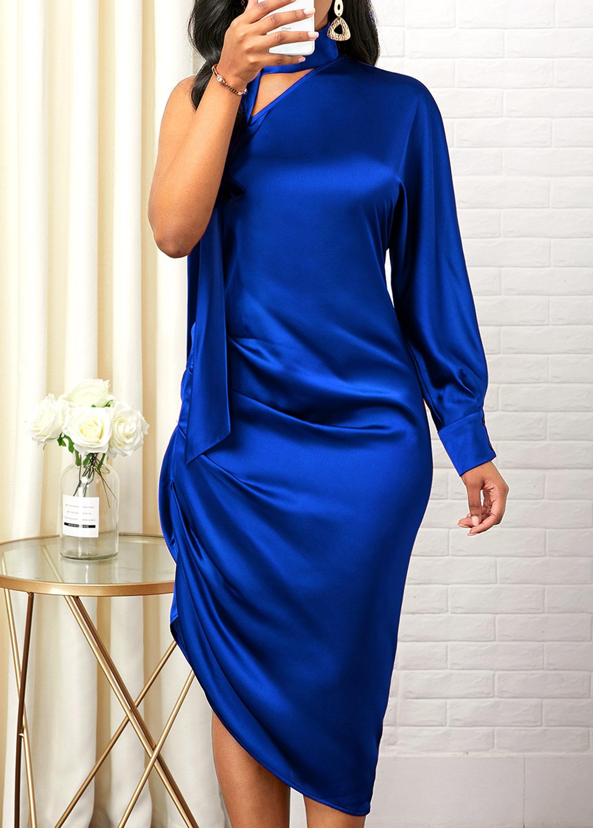 Asymmetric Hem One Shoulder Royal Blue Dress