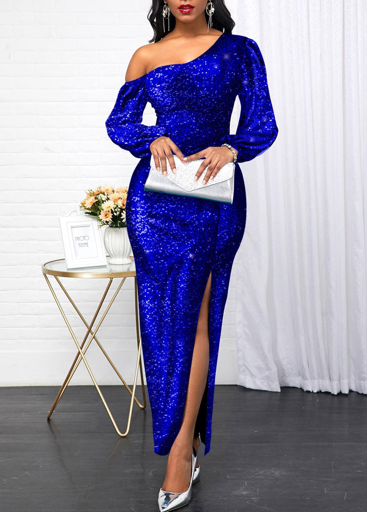 Side Slit Sequin Panel Royal Blue Maxi Dress