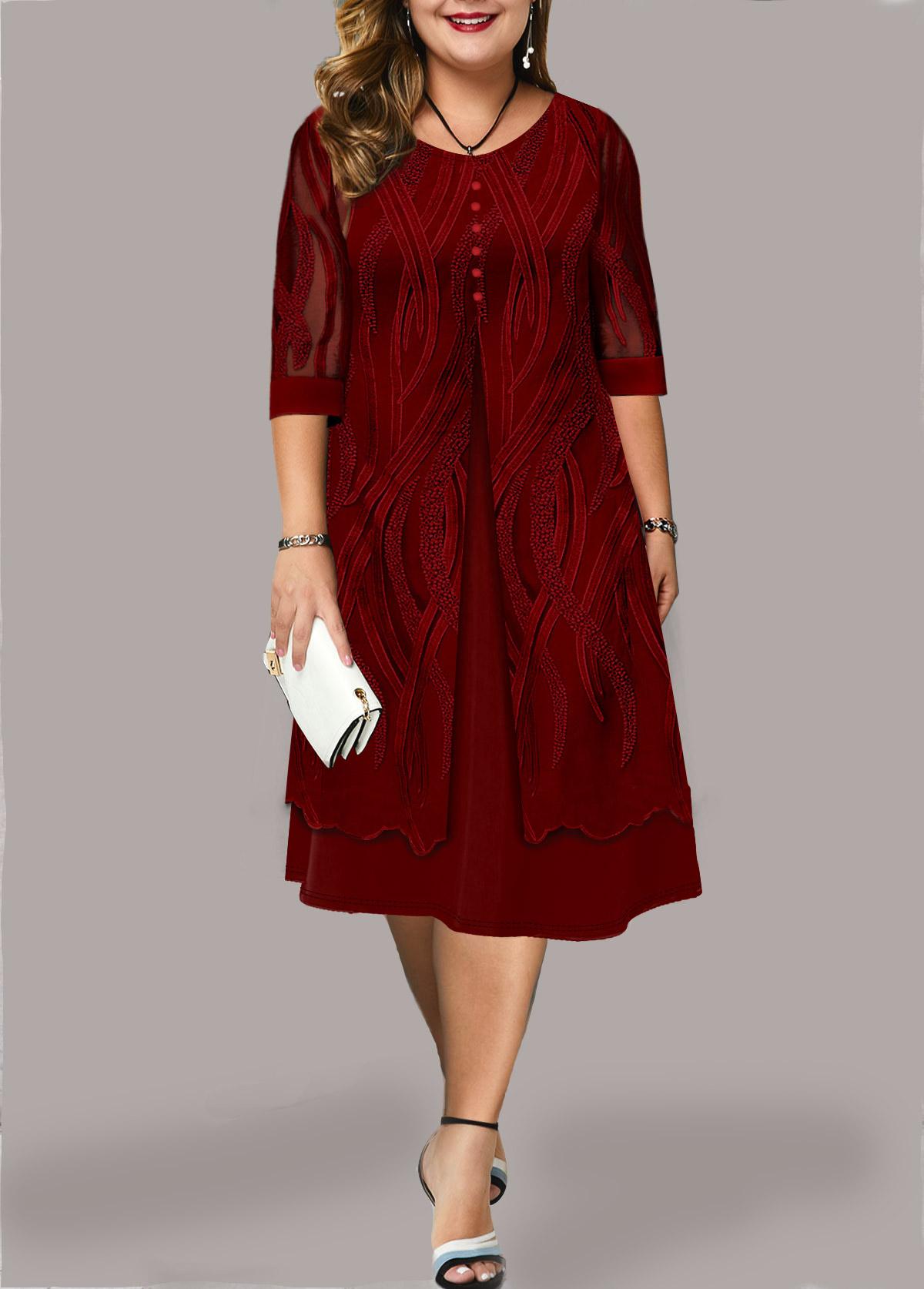 Lace Panel Plus Size Faux Two Piece Dress