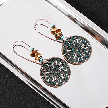 Metal Dark Khaki Stone Decoration Earrings
