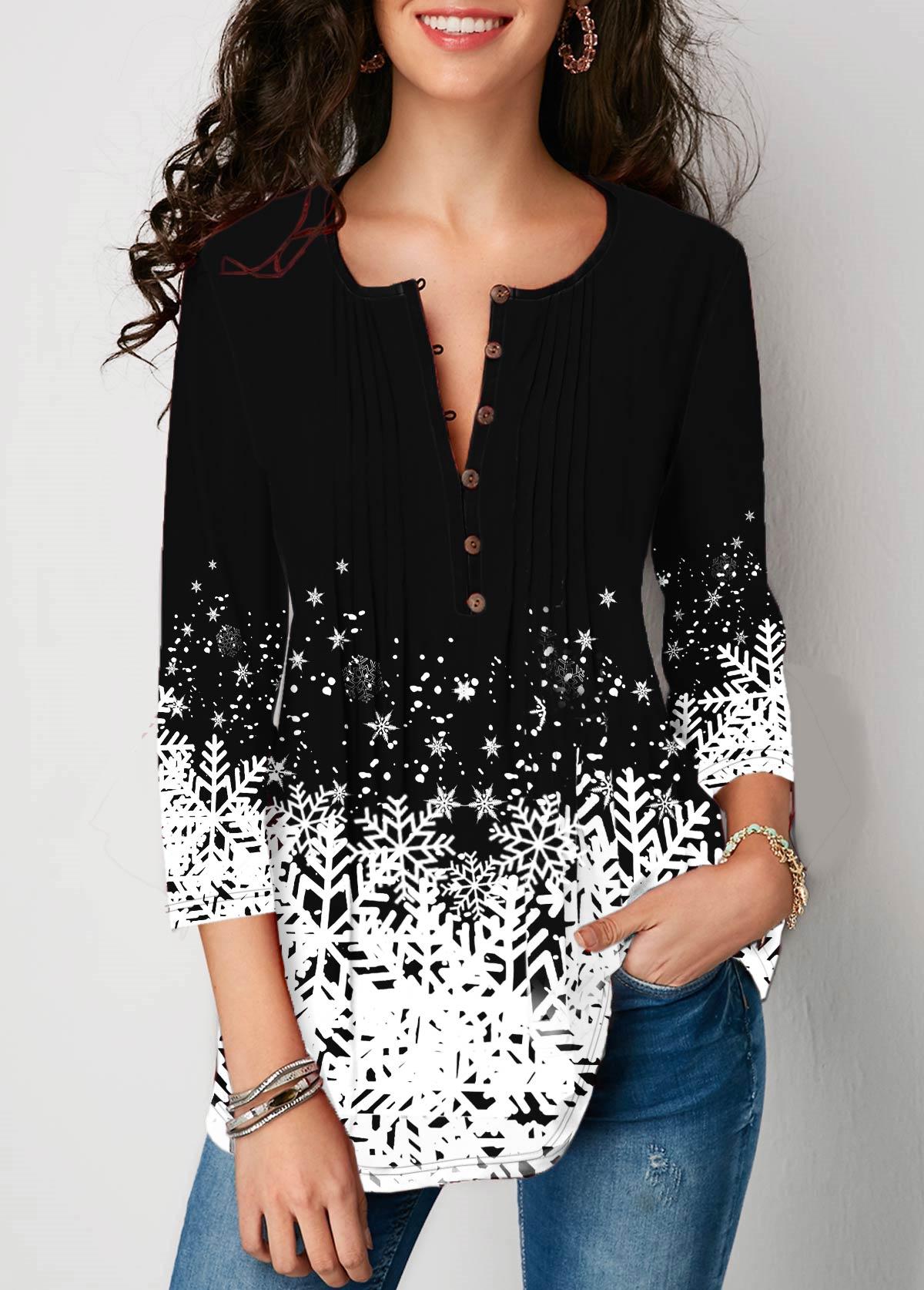 Button Detail Snowflake Print 3/4 sleeve Blouse