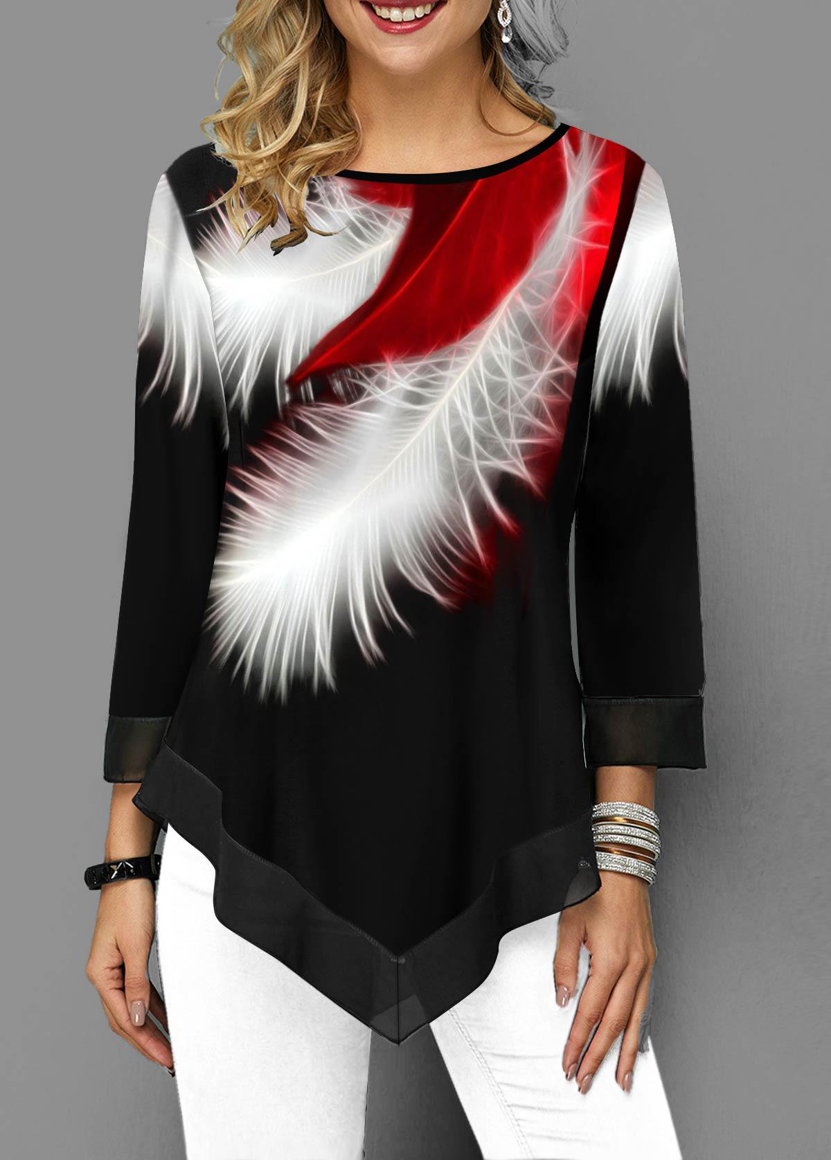 Asymmetric Hem Feather Print Round Neck T Shirt