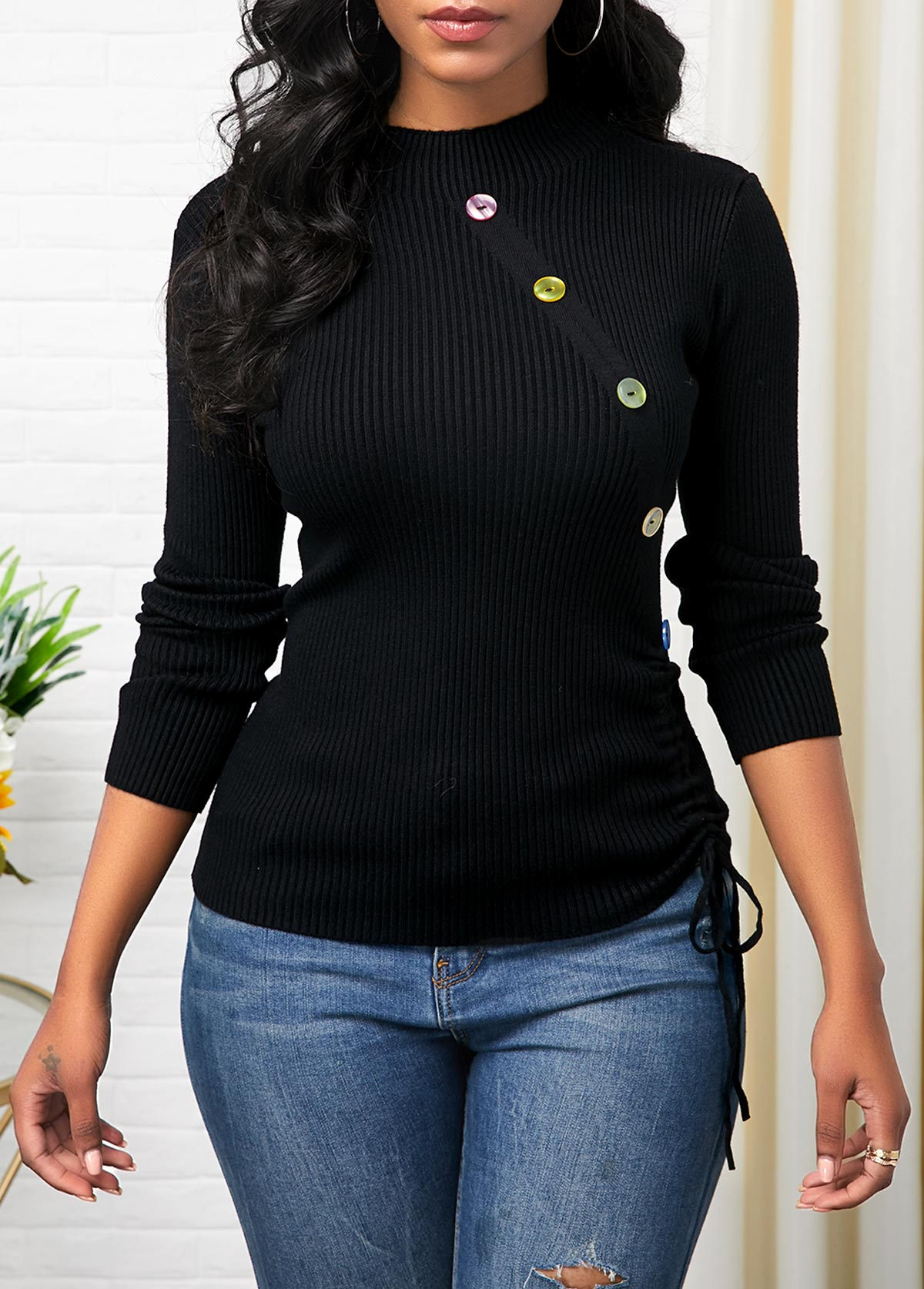 Long Sleeve Button Detail Drawstring Side Sweater