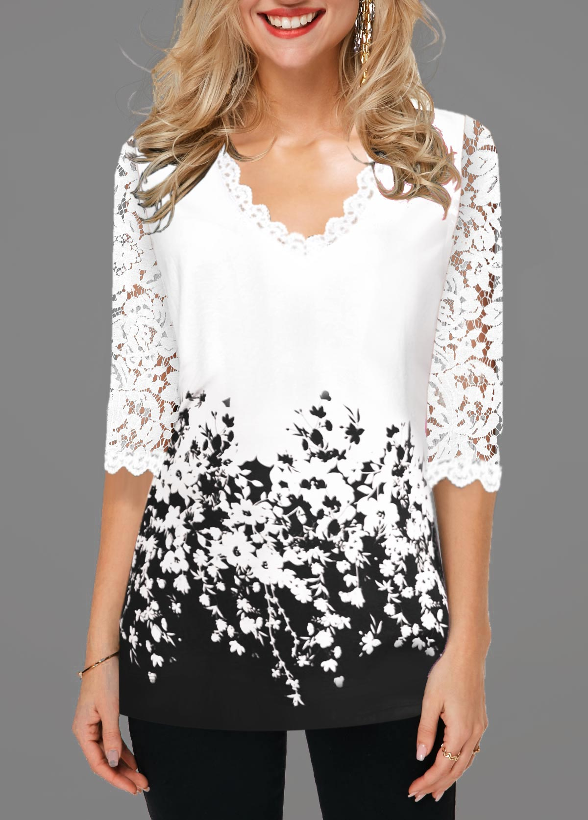 Floral Print Lace Detail Contrast Panel T Shirt
