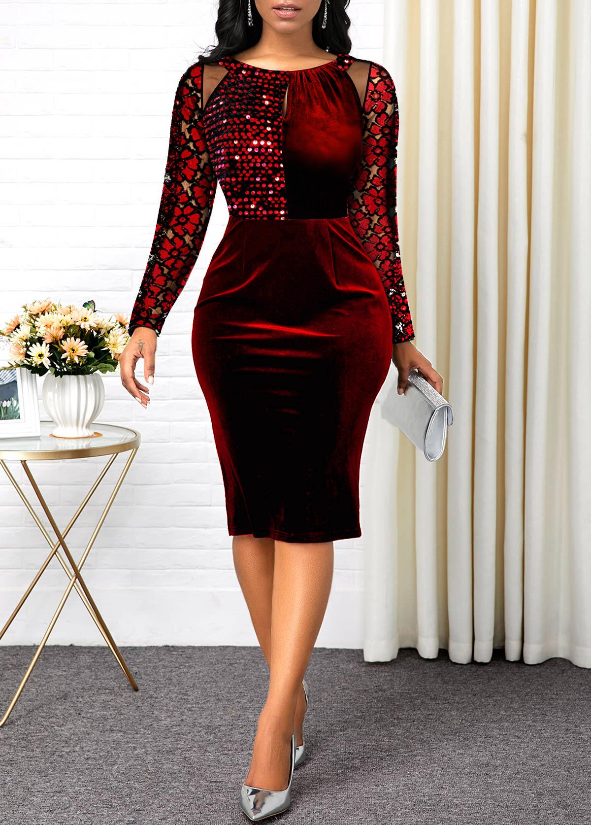 Lace Sleeve Sequin Detail Mesh Panel Velvet Dress