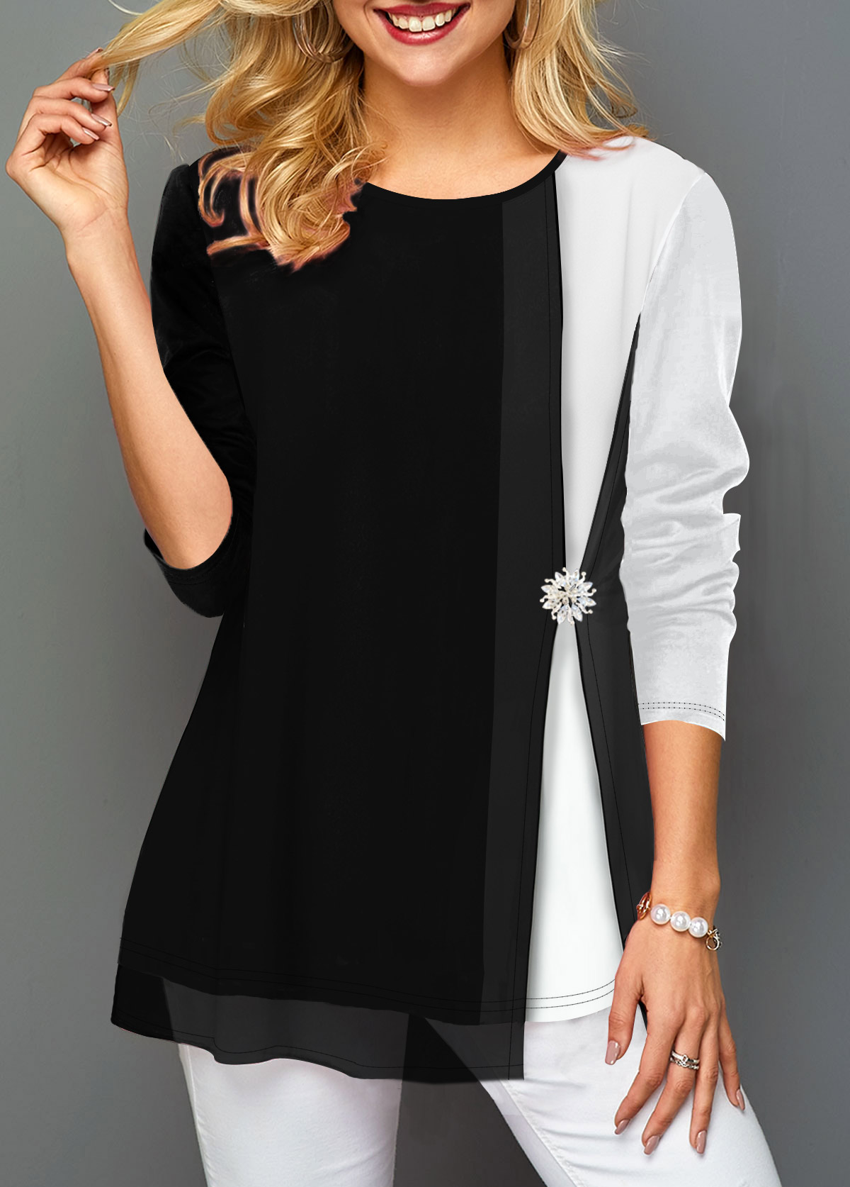 Decorated Button Contrast Panel Faux Two Piece T Shirt