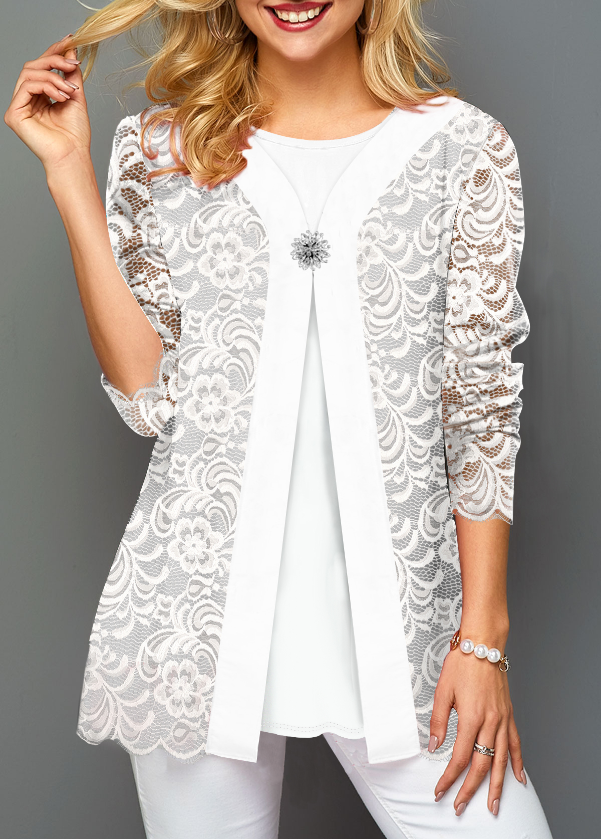Decorated Button Faux Two Piece White Lace T Shirt