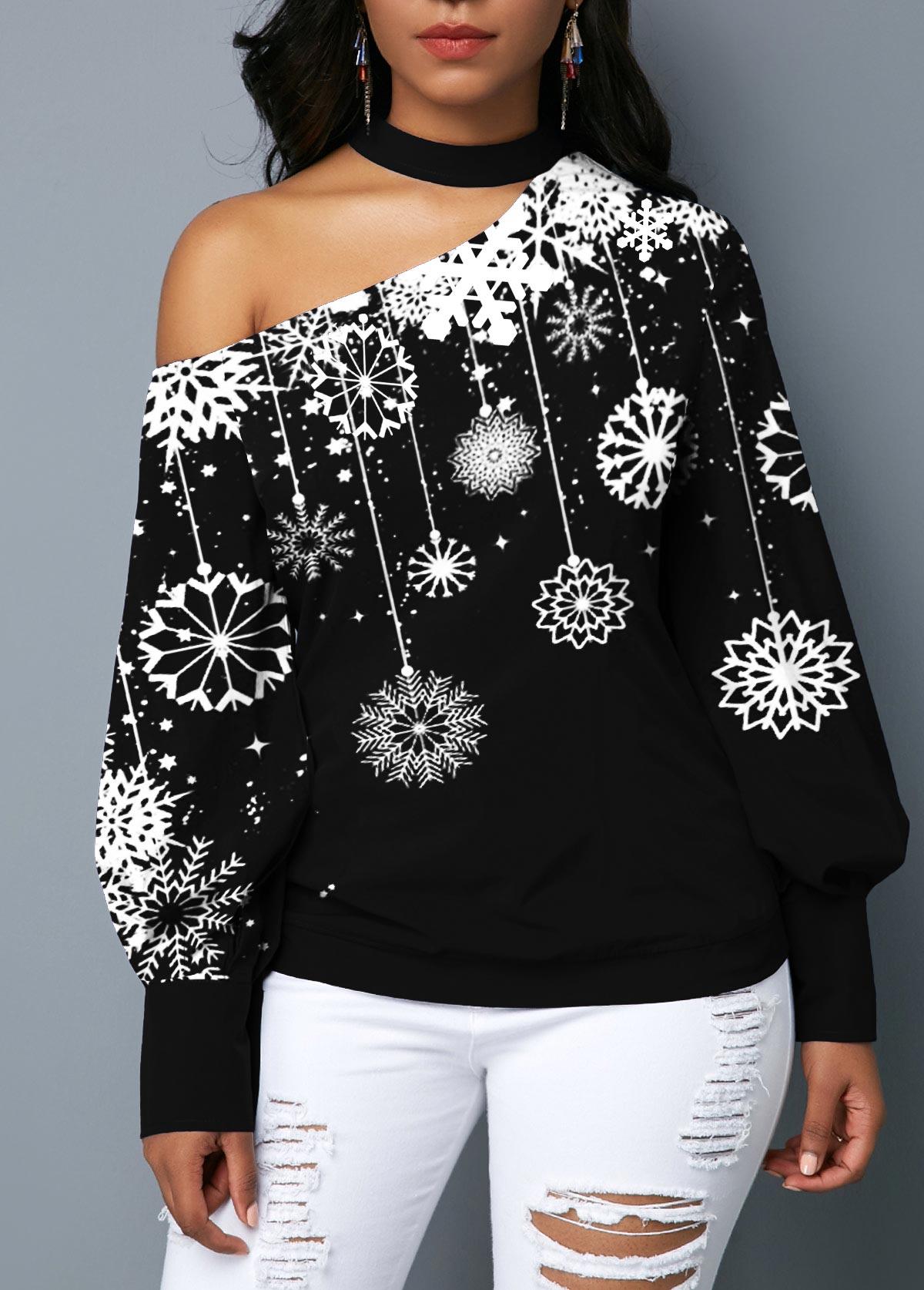 Snowflake Print Blouson Sleeve Choker Neck Blouse