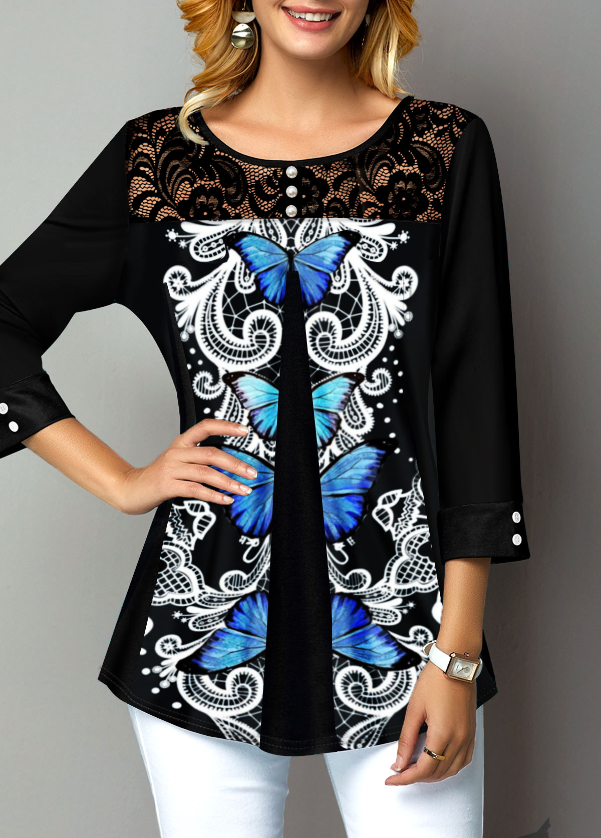 Button Detail Lace Panel Symmetric Butterfly T Shirt