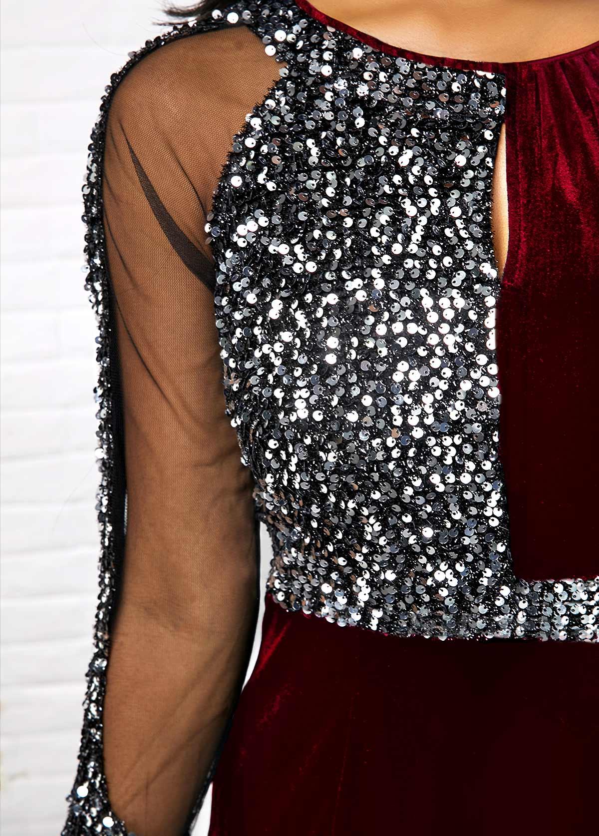 Sequin Detail Mesh Panel Back Slit Sheath Dress