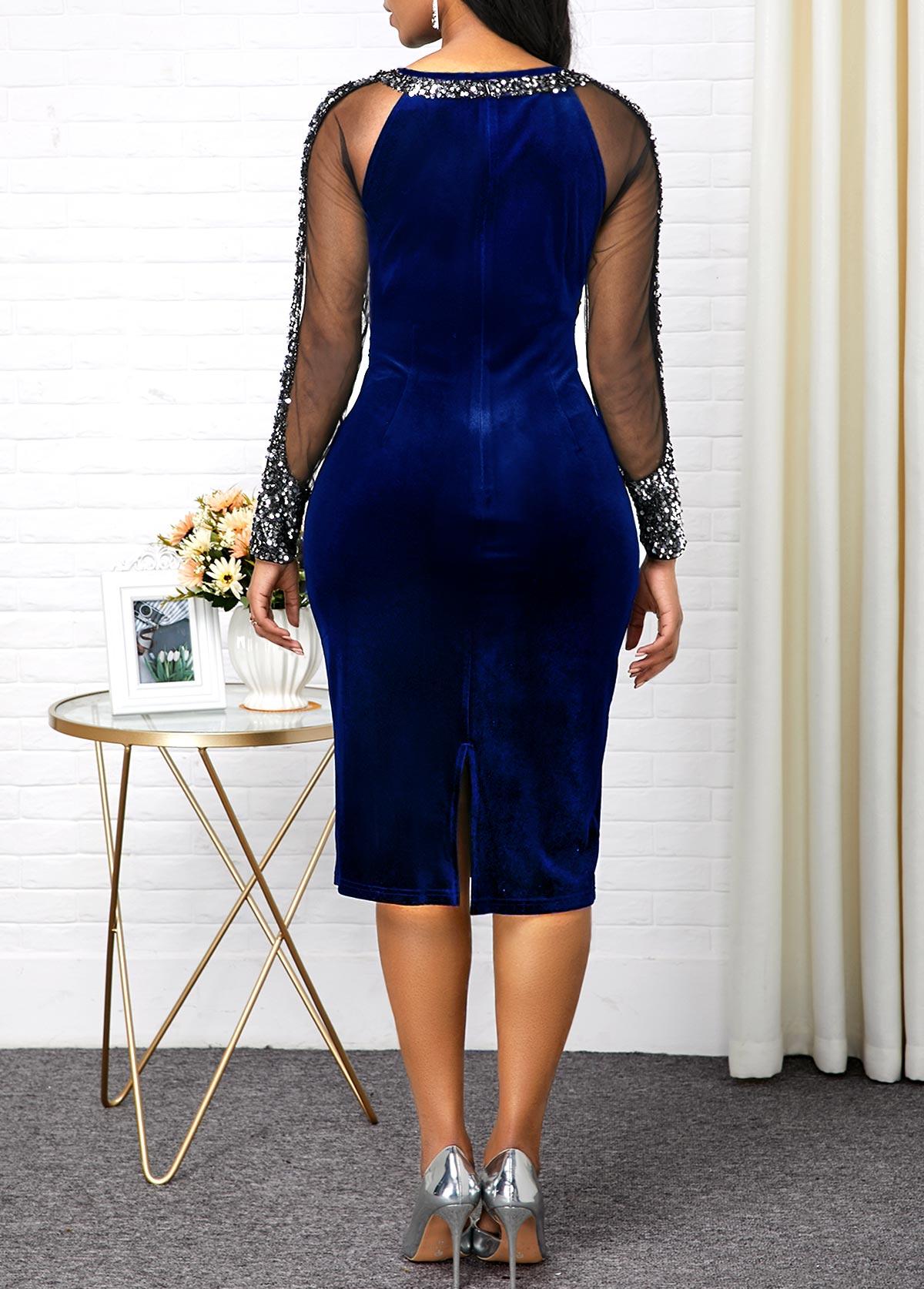 Sequin Detail Mesh Panel Long Sleeve Sheath Dress