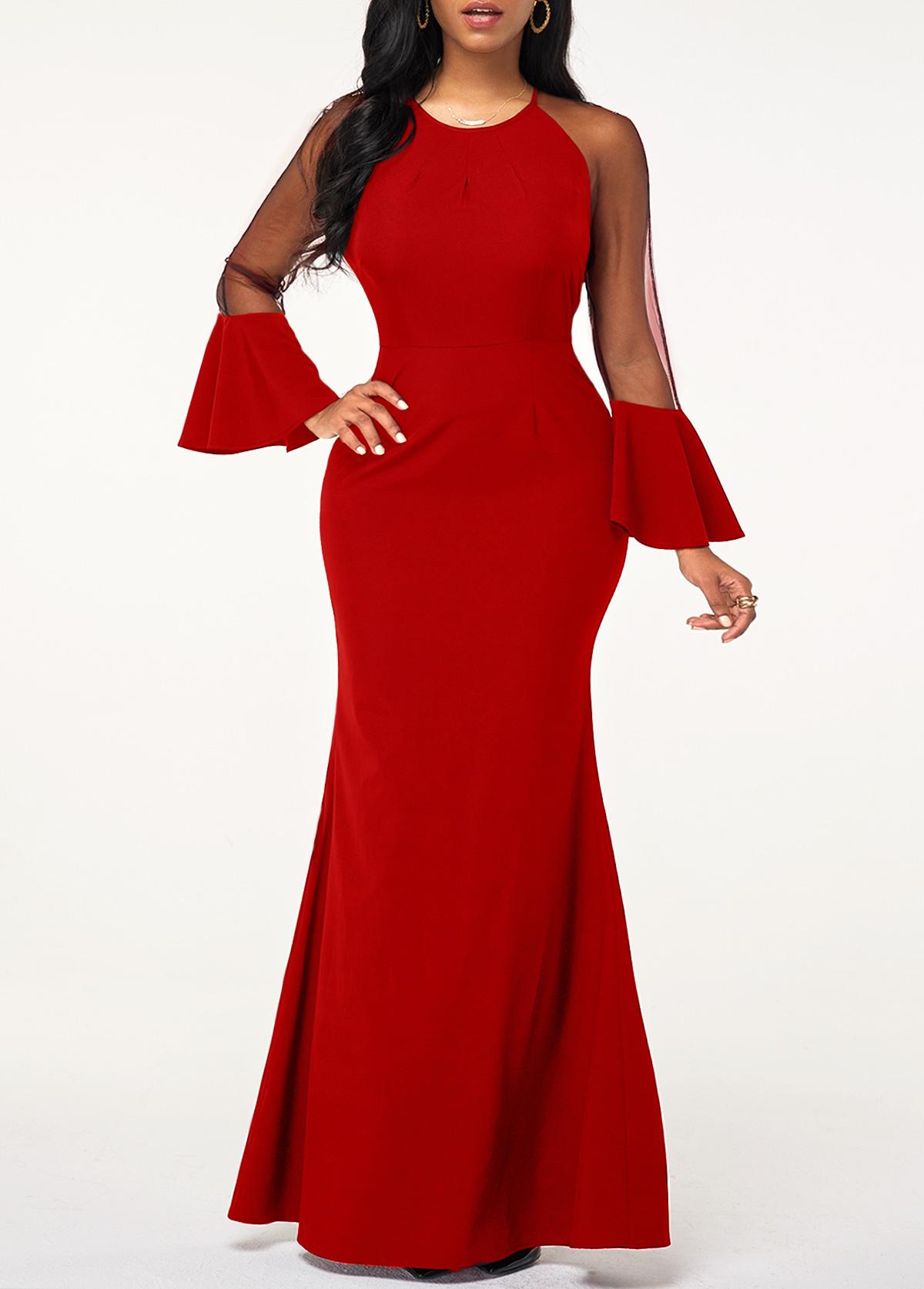 Flare Cuff Mesh Panel Red Maxi Dress