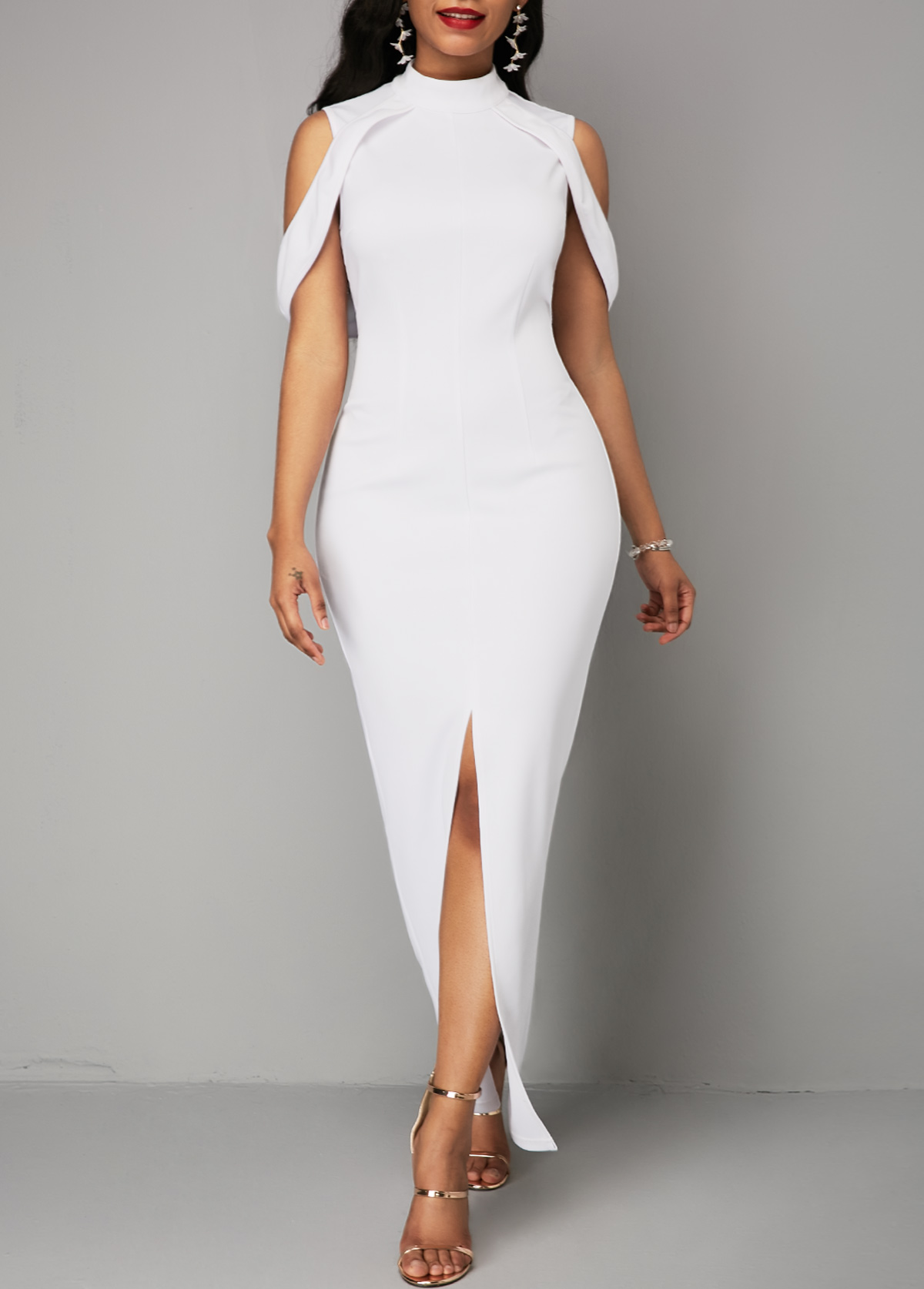 Mock Neck Front Slit White Maxi Dress