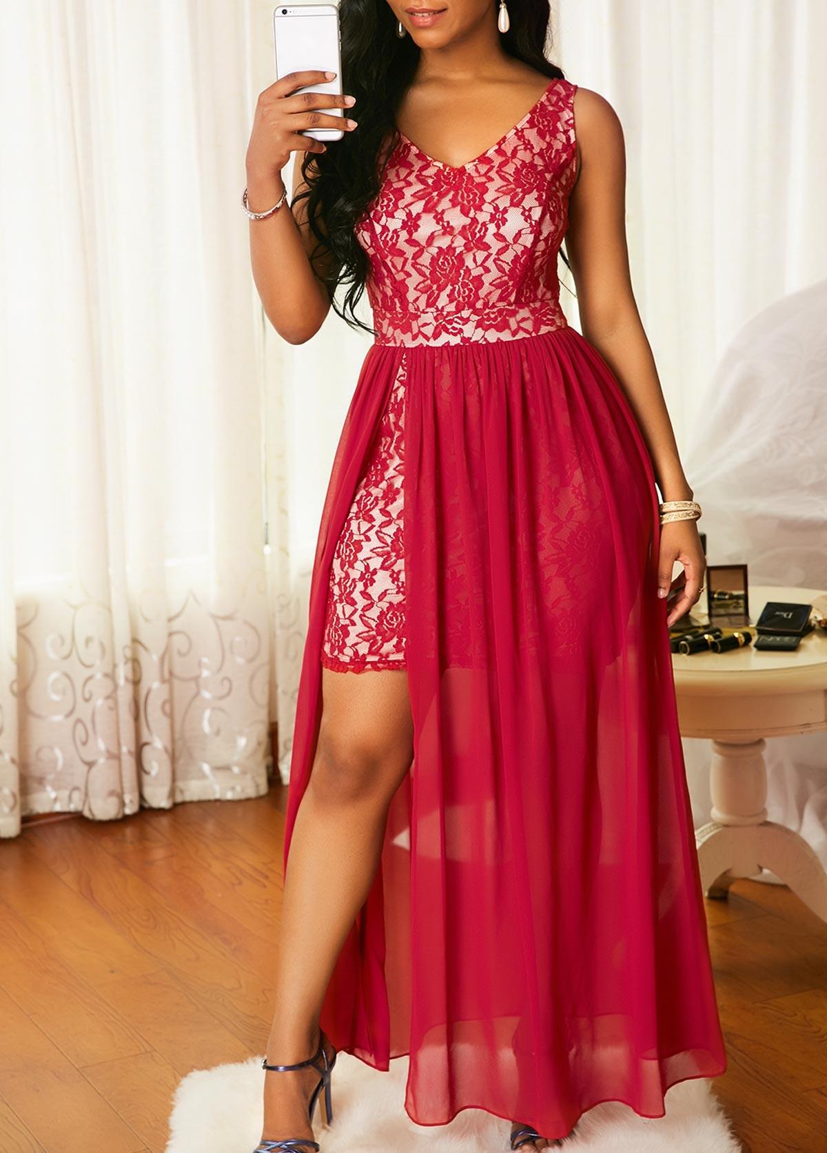 Sleeveless Chiffon Overlay V Neck Lace Dress