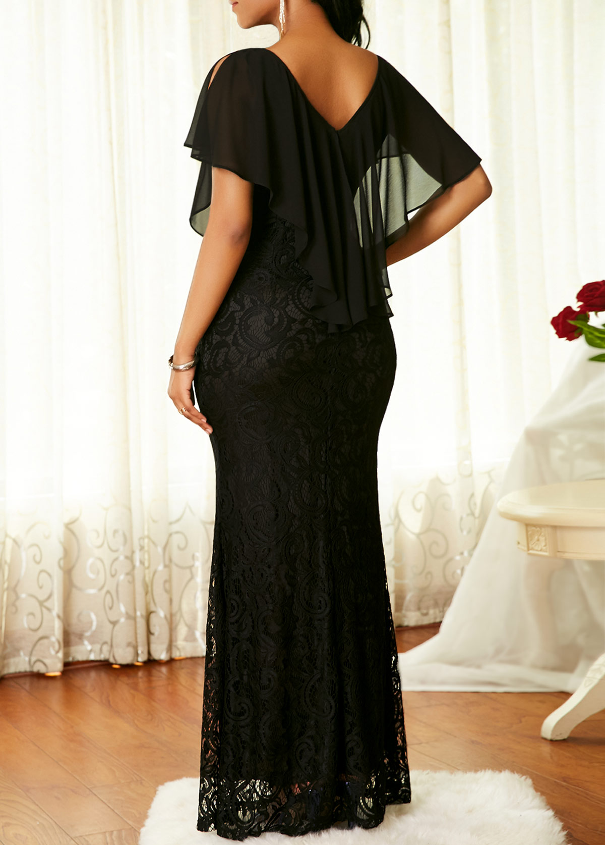 V Neck Cape Shoulder Black Lace Dress
