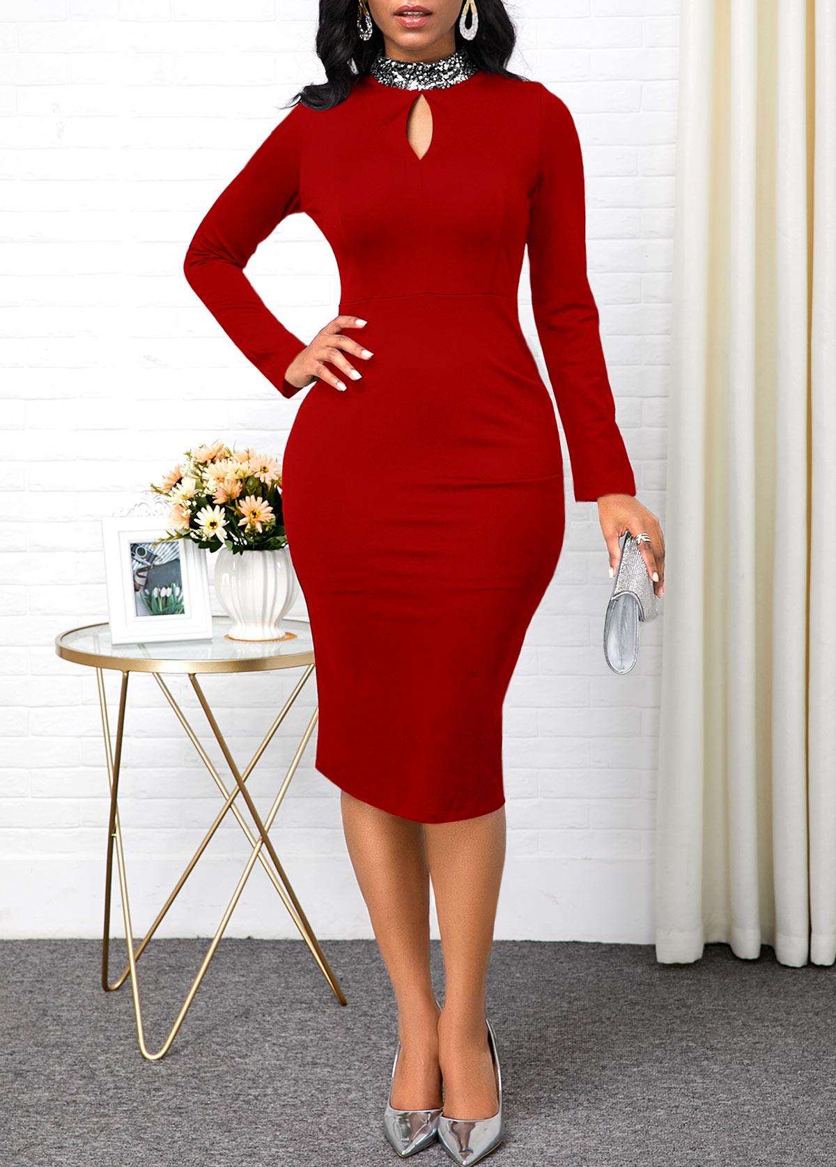 Long Sleeve Keyhole Neckline Red Sheath Dress