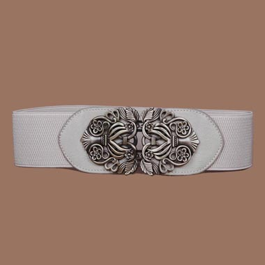 Carved Detail Elastic Waist White Buckle Belt