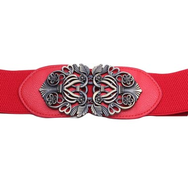 Elastic Waist Red Carved Detail Buckle Belt