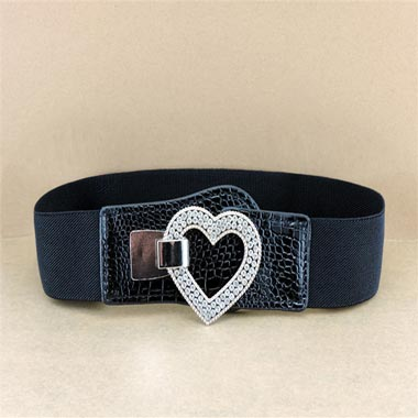 Heart Design Black Elastic Waist Buckle Belt
