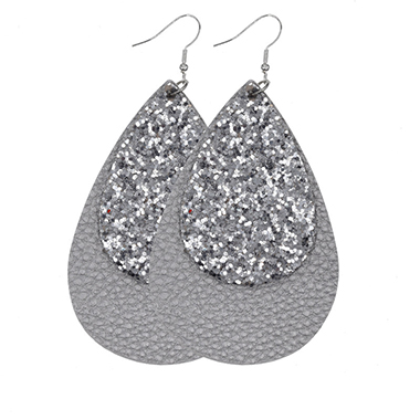 Sequin Detail Layered Light Grey Earring Set