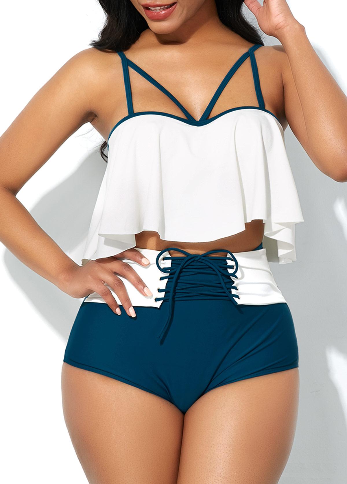 Spaghetti Strap Bikini Top and Lace Up Panty