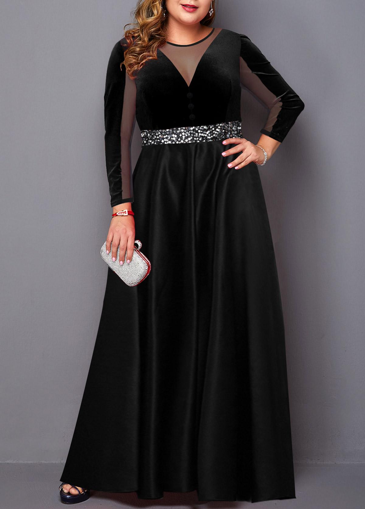 Mesh Panel Plus Size Sequin Detail Velvet Dress