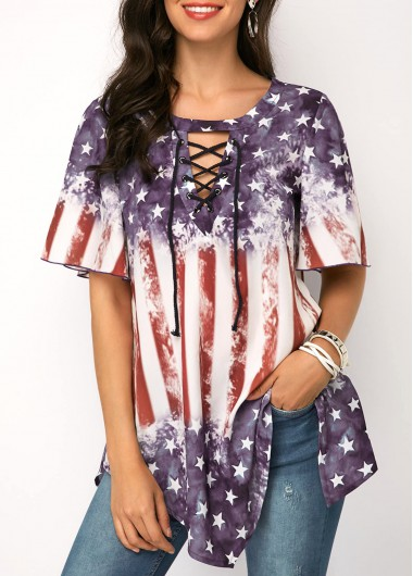4Th Of July Women'S Multi Color Lace Up Asymmetric Hem Patriotic Blouse American Flag Printed Short Sleeve Tunic Casual Top By Rosewe - M