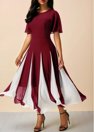 Women'S Burgundy Chiffon Fit And Flare Dress Wine Red Short Sleeve Flowy Round Neck Mid Calf Butterfly Sleeve High Waisted Casual Dress By - M