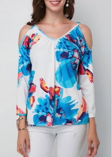 Women'S Blue Cold Shoulder Floral Printed V Neck Tunic Spring Blouse Strappy Three Quarter Sleeve Casual Top By Rosewe - M