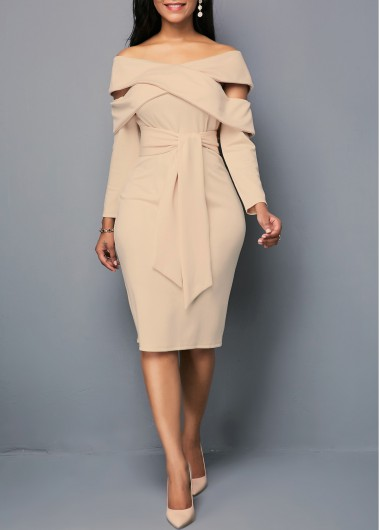 Women'S Light Khaki Off The Shoulder Long Sleeve Knee Length Belted Sheath Dress Solid Color Elegant Zipper Back Work Dress By Rosewe - L