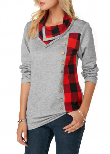 Long Sleeve Plaid Print Button Detail Sweatshirt - M
