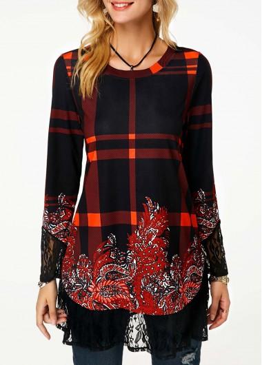 Round Neck Lace Panel Long Sleeve T Shirt - M