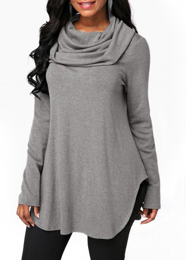 Cowl Neck Grey Long Sleeve Sweatshirt - M